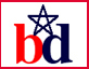 one of bobby dozier's logos, which is made up of a white box with a red border, a 'b' next to a 'd' and a star over the bd