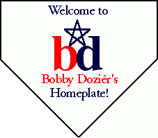 logo of bobby dozier contains an image of a baseball homeplate, the initials b and d and a star